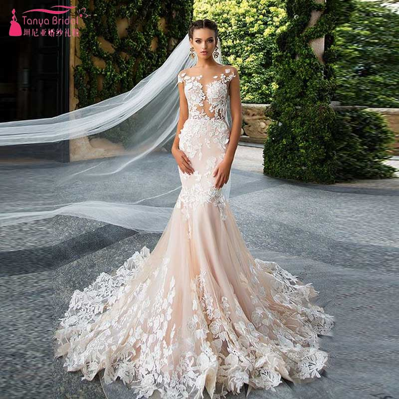 Pink champagne mermaid lace wedding dresses sexy o neck for Champagne pink wedding dresses