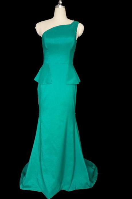 Turquoise Mermaid One Shoulder Evening Dresses Elegant Bridesmaid Dresses important Party dress ,formal gown reap picture