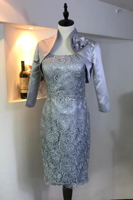 Silver Knee Length Mother Of the bridal Dresses ,With Elegant Jacket Lace Formal Party Gowns