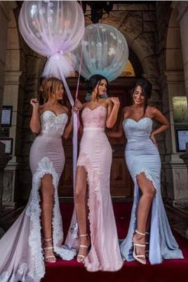 Sweetheart Mermaid High Split Bridesmaid Dresses ,elegant Maid Of honor Dress,Evening Prom dress
