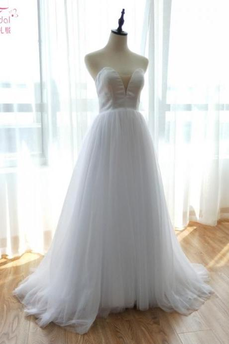 Deep V-Neck Wedding Dresses Tulle Skirts Elegant Beach Lact Summer Bridal Gowns 2018 Vestido De Noiva