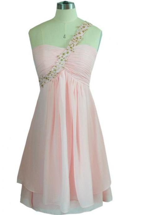 One Shoulder Short Mini Summer Party Dresses 2016 Pink Prom Gown Homecoming Dresses