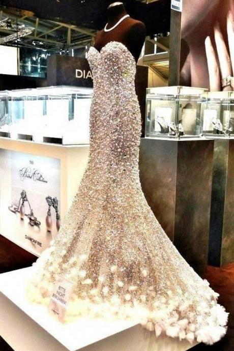 Fashion Long Evening Dresses 2016 Crystal Pearls flowers Mermaid Formal Prom Gowns Custom Made