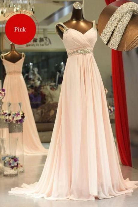 Pink Prom Dresses With Crystal Long Chiffon Evening Gown Custom Made Formal Wear