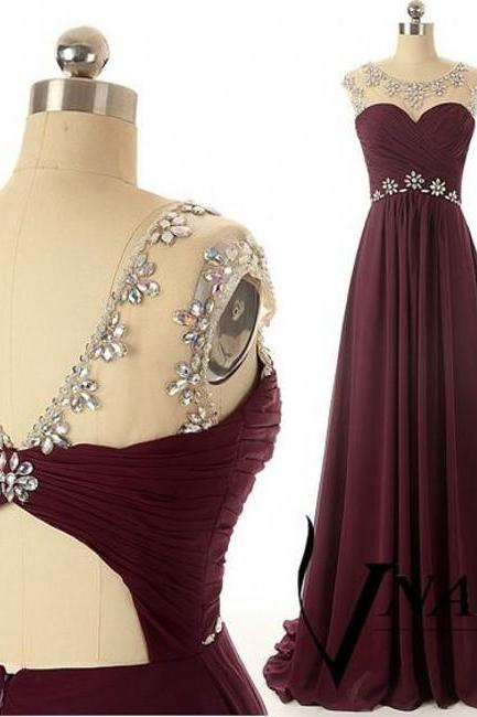 Dark Red A Line Chiffon Long Prom Dress Gown 2016 Crystal Women Evening Gown with Train