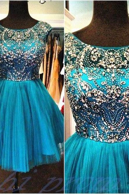 Short Mini Hunter Green Crystal Prom Party Dress 2016 Custom Made Cocktail Dresses