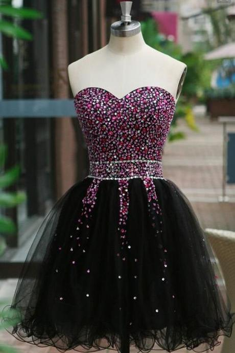 Colorful Sequins Short Mini Black Tulle Homecoming Dresses Custom Made Prom Gowns 2016 Evening Dress Little Black Dresses