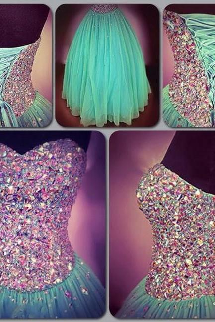 Colorful Crystal Ball Gown Prom Dresses 2016 Lace Up Back Floor Length Green Evening Dresses