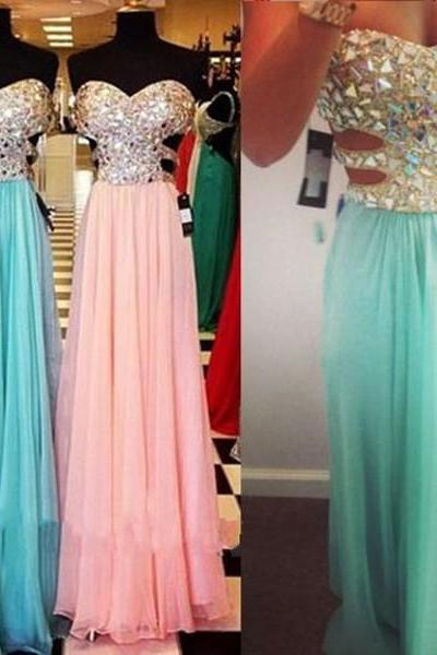 A Line Pink Chiffon Crystal Long Prom Dress,Evening Dresses Custom Made Elegant Formal Dress Women