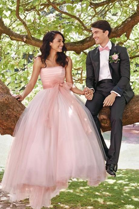Vintage Strapless A Line Pink Wedding Dresses Simple Summer Long Bridal Gown With Bow