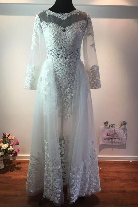Lace Long sleeve Wedding dresses ,Deachable Skirts Illusion Sexy Mermaid Bridal Gowns ,Arabic Dress Real Image