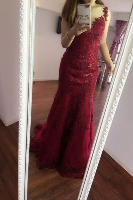 Red Sexy Backless V-Neck Prom Dresses Bling Bling Mermaid Evening gowns,Women Formal Dresses Real Photo