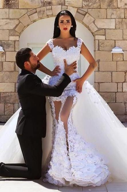 Saudi Arabia Wedding Dresses, Sexy Lace elegant Bridal Dresses, With Detachable Skirts Off the shoulder Weeding Dresses